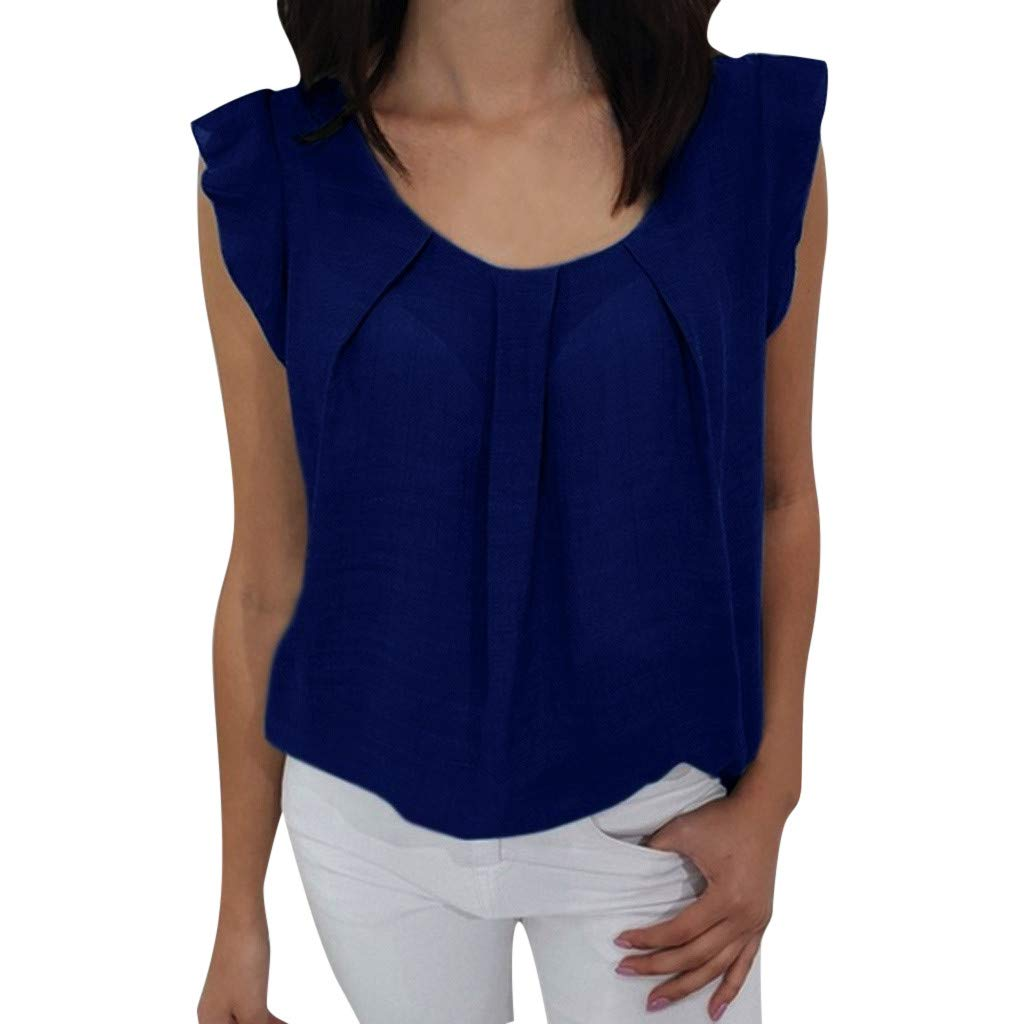 Women T-Shirt, Sleeveless Casual Floral Ruffle Tank Tops Vest Cami Blouse with Front Pleat (M, Blue)