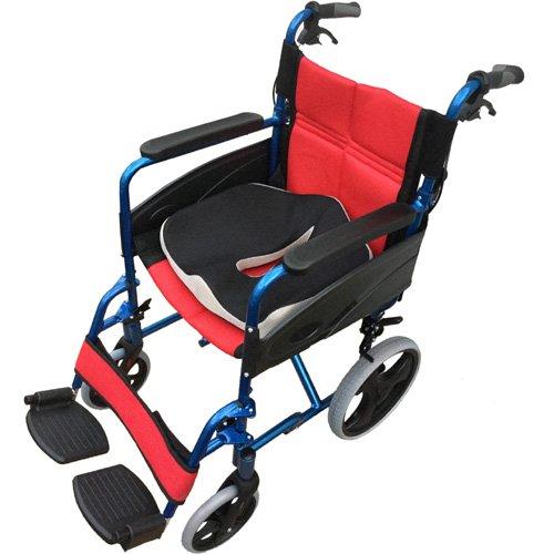 【PL保険加入済み】【3Dクッションセット】Nice Way2(ナイスウェイ) 折りたたみ式 車椅子【座面幅約46cm】【ゆったりサイズ】【簡易式】【NW976LABJ】【介護介助用】【介助ブレーキ付き】 (ブルー) B075N8VXH1 ブルー(第三世代クッションセット) ブルー(第三世代クッションセット)