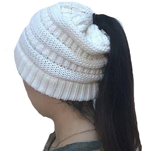 TheFound Women Winter Warm Knitted Ponytail Beanie Hat Messy High Bun Stretch Ribbed Cap (White) (Beanie White Ribbed)