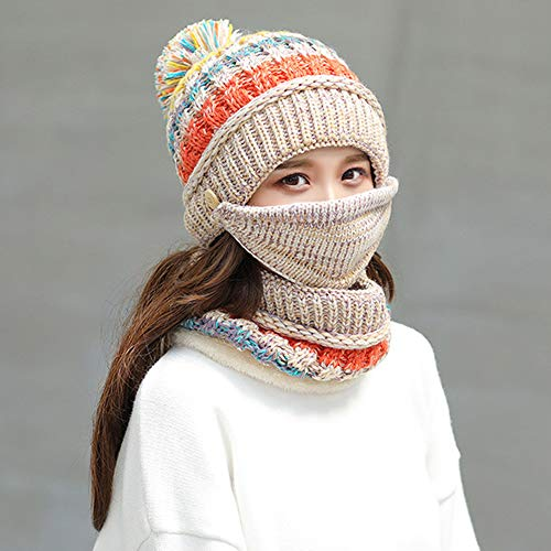 BZCTAH Warm Knitted Beanie Hat, Mak and Circle Scarf Set, Fleece Lined Skull Cap Beanie Hat,Snow Knit Skull Cap for Women Plus Thickening Outdoor Use, Beige -