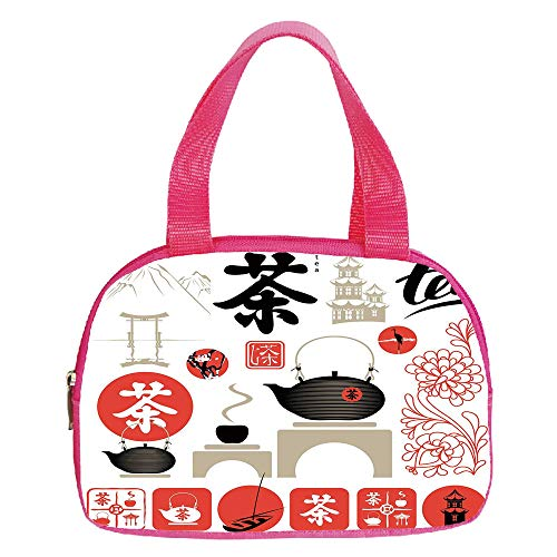 Ellington Vintage Tote - Multiple Picture Printing Small Handbag Pink,Geometric,Ornamental Colorful Hexagon Shapes Vertical Aligned Illustration Vintage Inspired,Multicolor,for Girls,Comfortable Design.6.3
