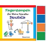 Fingerstempeln f. kl. Künstler-Baustelle-Set: Auf der Baustelle. Mit vier Fingerstempelfarben