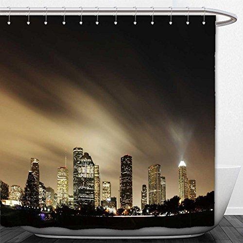 Beshowere Shower Curtain metropolitan skyline at night houston texas
