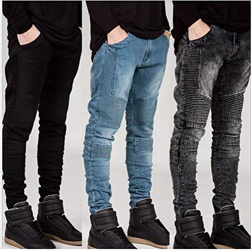 Aderenti Fit Pantaloni Bianca Sfilacciati Juleya Zipper Biker Da Strappato Attillati Uomo Slim Strappati Jeans xzq4PIg