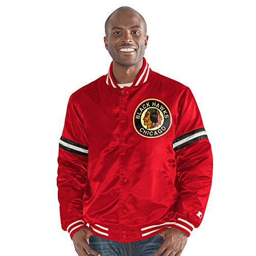 STARTER NHL Chicago Blackhawks Men's Legacy Retro Satin Jacket, 4X, Red