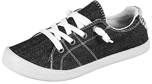 Forever Link Women's Classic Slip-On Comfort -01 Black Fashion Sneaker (8)