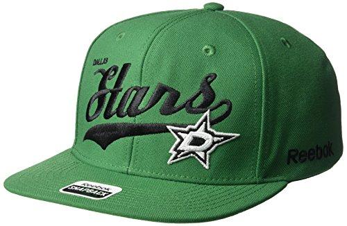 NHL Dallas Stars Men's SP17 Tail Sweep Flat Brim Snapback Hat, Green, One - Visor Green Reebok