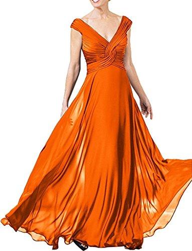 A Braut Festlichkleider Brautjungfernkleider mia Damen Linie Rock Abendkleider Schwarz Langes Orange Chiffon Partykleider La FvzAxwx