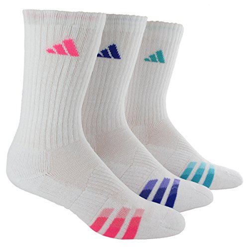 Adidas Women's Cushioned 3pk Crew Sock White/solar Pink/Night Flash Purple/Vivid Mint Green