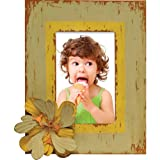 Caffco International Distressed 4 x 6-Inch Picture Frame with Magnet Memorabilia Holder, Green and Yellow