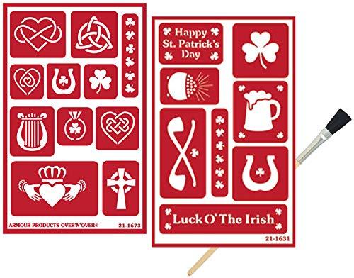 갑 ETCH 향상하는 데 도움이 재사용할 수 있는 유리 에칭 스텐실 에칭 스텐실 설정을 가진 아일랜드의 테마로 토끼풀 클로버 켈틱 매듭 하프 디자인 브러시를 포함 총 3 개 항목