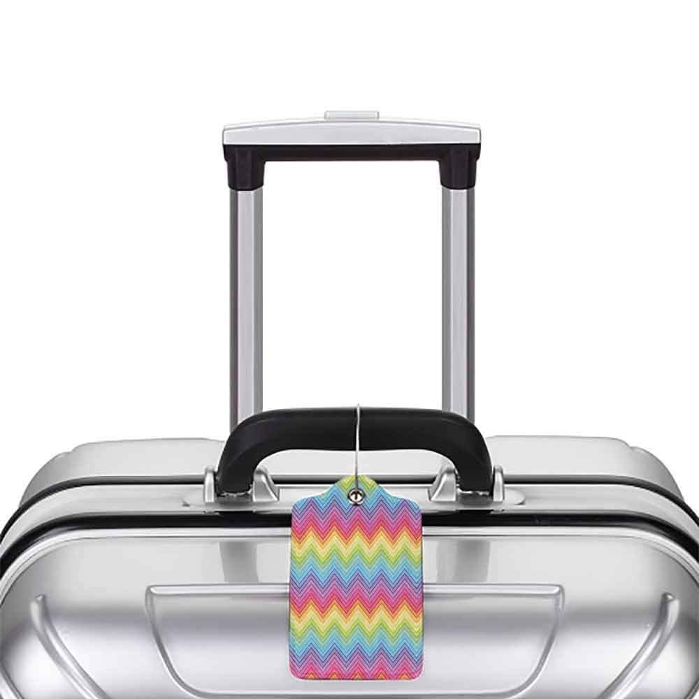 Multi-patterned luggage tag Rainbow Colorful Zig Zag Chevron Pattern Geometric Modern Sharp Design Fancy Illustration Double-sided printing Multicolor W2.7 x L4.6