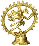 GREENTOUCH CRAFTS Hindu Decor Shiva Dancing Nataraja Brass Statue for Temple Mandir 4 Inch