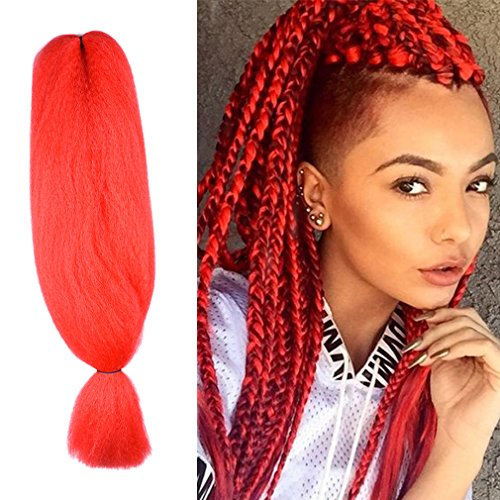 48 Inch Braiding Hair Kanekalon Crochet Braids Synthetic Hair Extensions X Pression Jumbo Braid Hair 57g 48 Inch Red Beauty