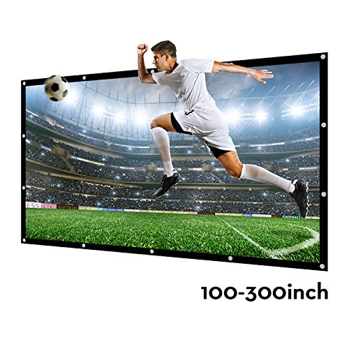 200 Inch Large Projector Screen 16:9 3D Portable Movie Screen Folding Projection Screen HD for Outdoor Indoor Home Theater ()