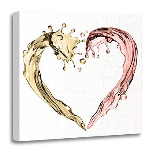 Emvency Canvas Wall Art Print Pink Rose 3D Render Digital Abstract Champagne Wave Heart Shape Liquid Splashing Design White Red Gold Artwork for Home Decor 12 x 12 Inches