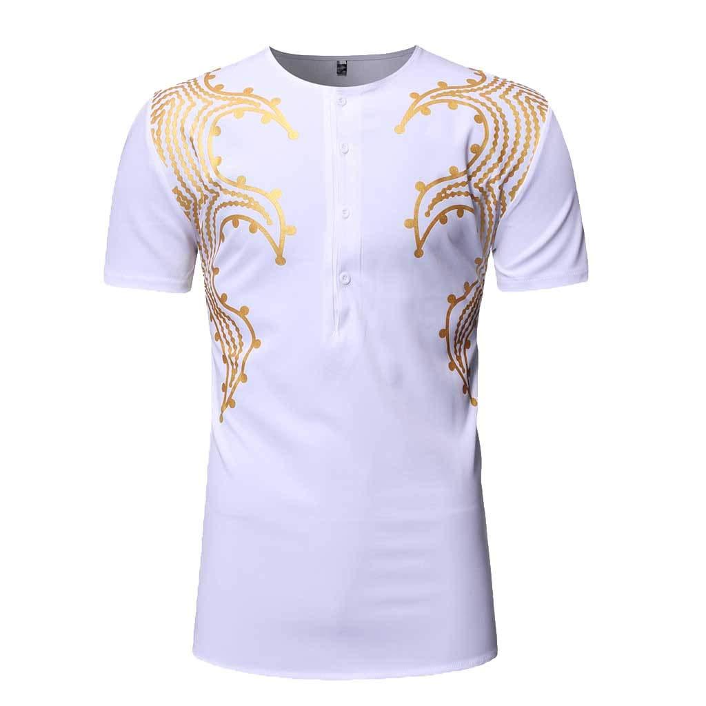 DATEWORK Fashion Mens Slim Fit Printed Muscle Tee T-Shirt Casual Medium Length Shirt