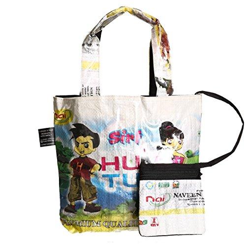 Shakti Milan Kindertasche Humtum Weiss Upcycled Tasche recycled Reissack Nepal Schultertasche Kita Kindergarten Lunchbox Comic