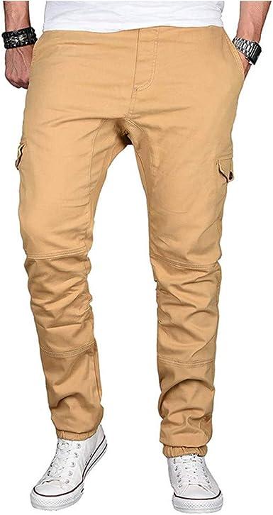 YanHoo Pantalones de chándal Ocasionales del algodón del Color ...