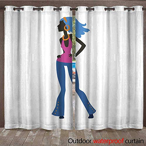 RenteriaDecor Outdoor Curtains for Patio Sheer Fashion Look Girl Silhouette Beautiful Girl Woman Female and Pretty Young Model Style Hair Lady Character Glamour Cute v W108 x L84
