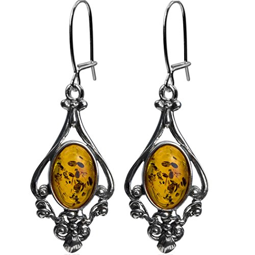 Honey Amber Sterling Silver Dangling Style Filigree Earrings by Ian & Valeri Co.