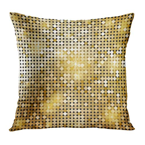 Throw Pillow Cover Yellow Gold Golden Shiny Mosaic in Disco Ball Style Abstract Graphic Glam Decorative Pillow Case Home Decor Square 18x18 Inches Pillowcase