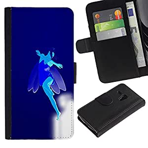 Billetera de Cuero Caso Titular de la tarjeta Carcasa Funda para Samsung Galaxy S3 MINI NOT REGULAR! I8190 I8190N / Blue Flying Fairy / STRONG