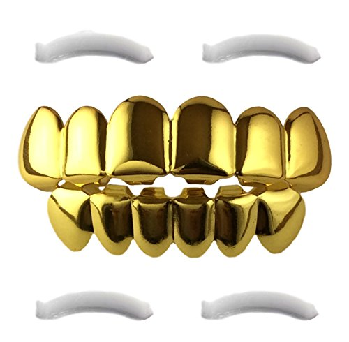[24K Gold Plated Grillz for Mouth Top Bottom Hip Hop Teeth] (Halloween Costumes For 4 People)