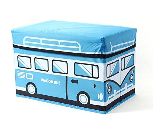 EZ Life Wagon Bus – Collapsible Medium Storage Box Cum Sitting Pouf – Blue
