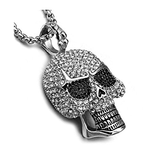 - BORNjewelry Stainless Steel Ice Out Bling Full Micro Pave Rhinestone Skeleton Skull Pendant Necklace