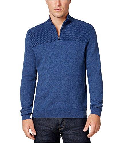Alfani Heather Mens Medium Pullover 1/2 Zip Sweater Blue M