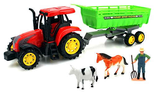 The-Farm-World-Tractor-Trailer-Childrens-Kids-Friction-Powered-Toy-Truck-Playset-w-Farmer-Animal-Figures
