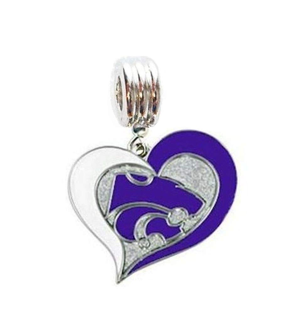 Fits Most Name Brands Beads DIY Projects ETC Heavens Jewelry KSU K-State Kansas State University Wildcats Heart Charm Slide Pendant for Your Necklace European Charm Bracelet