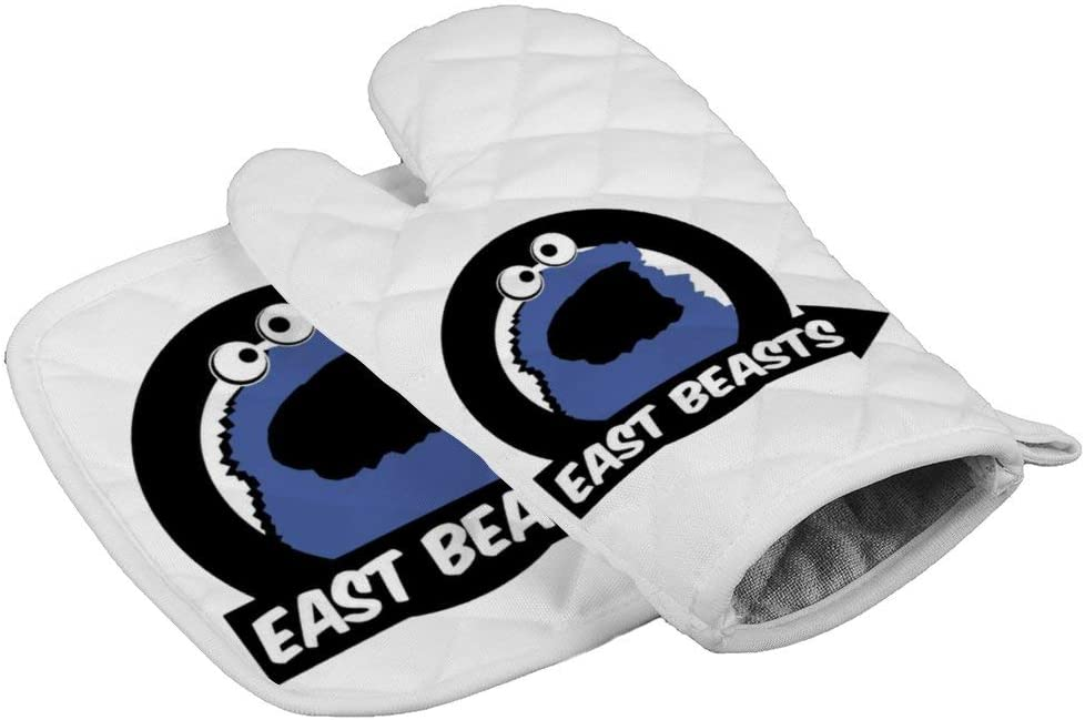 LijiahuaMitts Cookie Monster Heat Resistant Oven Mitts and Pot Holders,Safe Kitchen Cooking Baking Grilling
