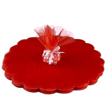 Gudotra 100 Pieces Sacs Organza Sac A Bonbon Sachet Faveur Sac En Tulle Rond Rouge Pour Anniversaire Mariage Cadeau Bonbons Partie Bijoux