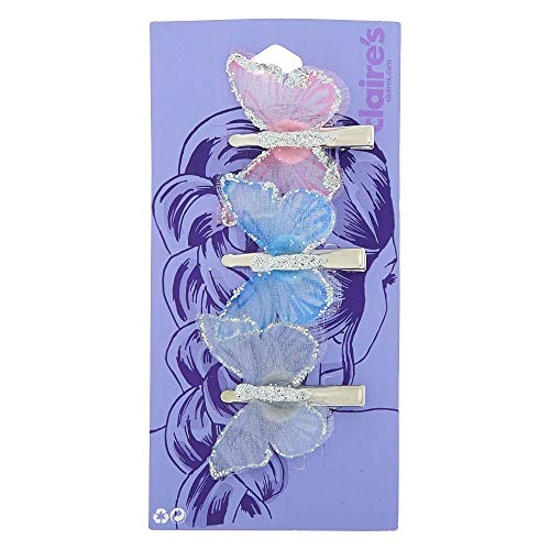 Claire's Girl's Iridescent Pastel Butterfly Hair Pins - 3 Pack