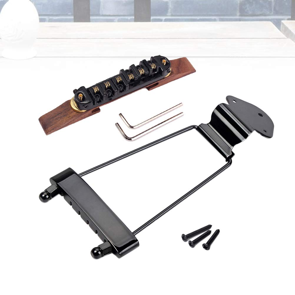 Healifty 6 String Archtop Jazz Guitar Rosewood Bridge Height Adjustable Tailpiece Trapeze for Jazz Guitar Parts Black