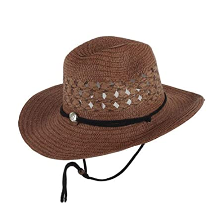 97559cb882b FH Summer Men s Sun Hat Mesh Breathable Foldable Western Cowboy Hat Outdoor  Sunshade Female Beach Straw Hat (Color   Brown)  Amazon.co.uk  Kitchen    Home