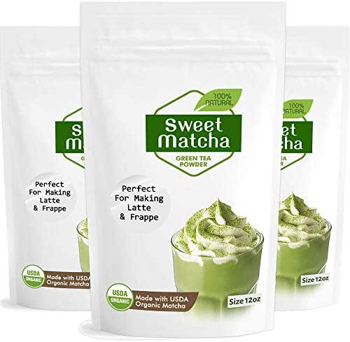 Japanese Sweet Matcha 3x 12oz Green Tea Powder Mix | Made with 100% Organic Matcha | Perfect for Making Green Tea Latte or Frappe | 3 Pack Bag | Matcha Outlet