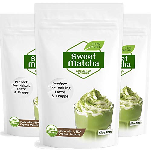 Japanese Sweet Matcha 3x 12oz Green Tea Powder Mix | Made with 100% Organic Matcha | Perfect for Making Green Tea Latte or Frappe | 3 Pack Bag | Matcha Outlet (Best Way To Make Matcha Tea)