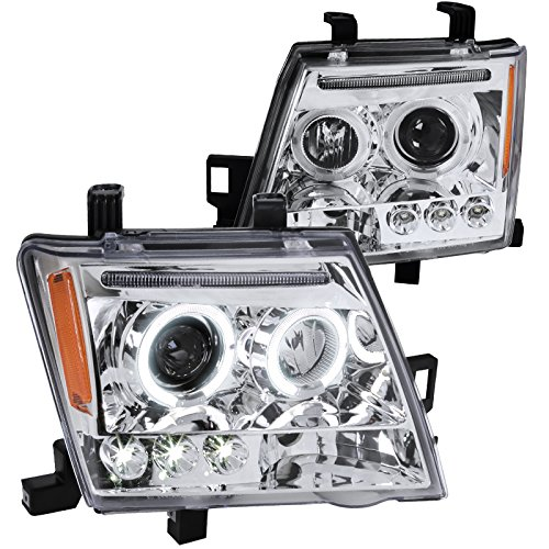 (Spec-D Tuning 2LHP-XTE05-TM Nissan Xterra Chrome Clear Halo Led Projector Headlights)