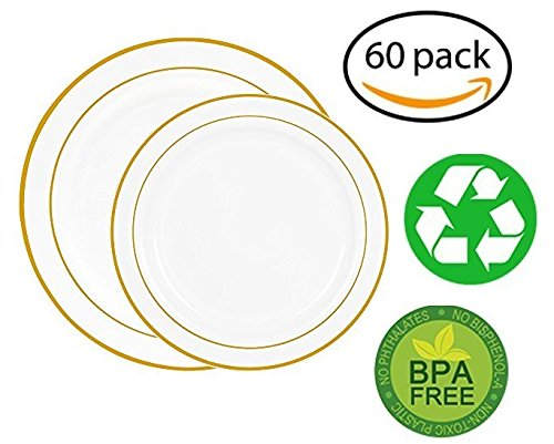 Chefcaptain 60 Heavyweight White with Gold Rim Plastic Plates: 30 Dinner Plates and 30 Salad Plates (GOLD (Gold Rim Dinner)