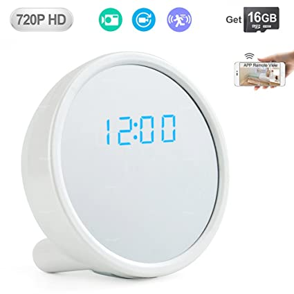 WISEUP 16GB 1280x720P HD Wifi Onvif IP Network Hidden Camera Clock Video  Recorder Support Motion Detective and Loop Recording iPhone Android APP