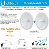 Ubiquiti PowerBeam AC Gen2 5 GHz PBE-5AC-Gen2-US PRECONFIGURED High Performance airMAX (2Pack)