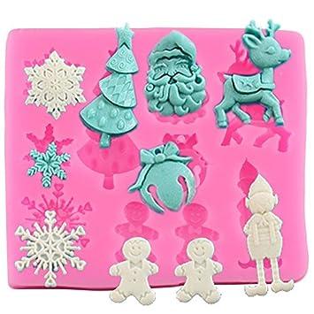 JUNGEN Molde de Silicona para Pastel Forma de Navidad Molde de Fondant para Hornear Decoracion Tartas Pasteles DIY jabón moldes: Amazon.es: Hogar