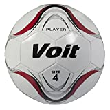 Voit Size 4 Player Deflated Soccer Ball, White and Red Graphic
