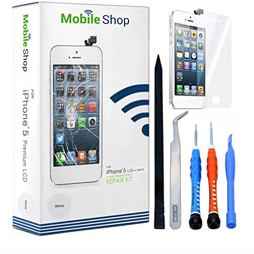 Screen Replacement Kit in White With Complimentary Tools and Glass Screen Protector. (Pre-Installed Ear Mesh, Camera Holder, and Proximity Sensor) (Premium Lcd Screen Protector)