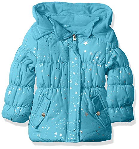 Pink Platinum Little Girls' Super Star Foil Puffer, Turquoise, 4 (Turquoise Jacket Girls)