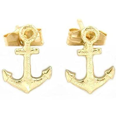 2b271cb25 Image Unavailable. Image not available for. Color: 14K Gold Anchor Earrings
