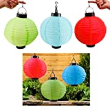 3 x Solar LED Chinese Paper Lanterns Party Round 10'' Garden Wedding Decoration